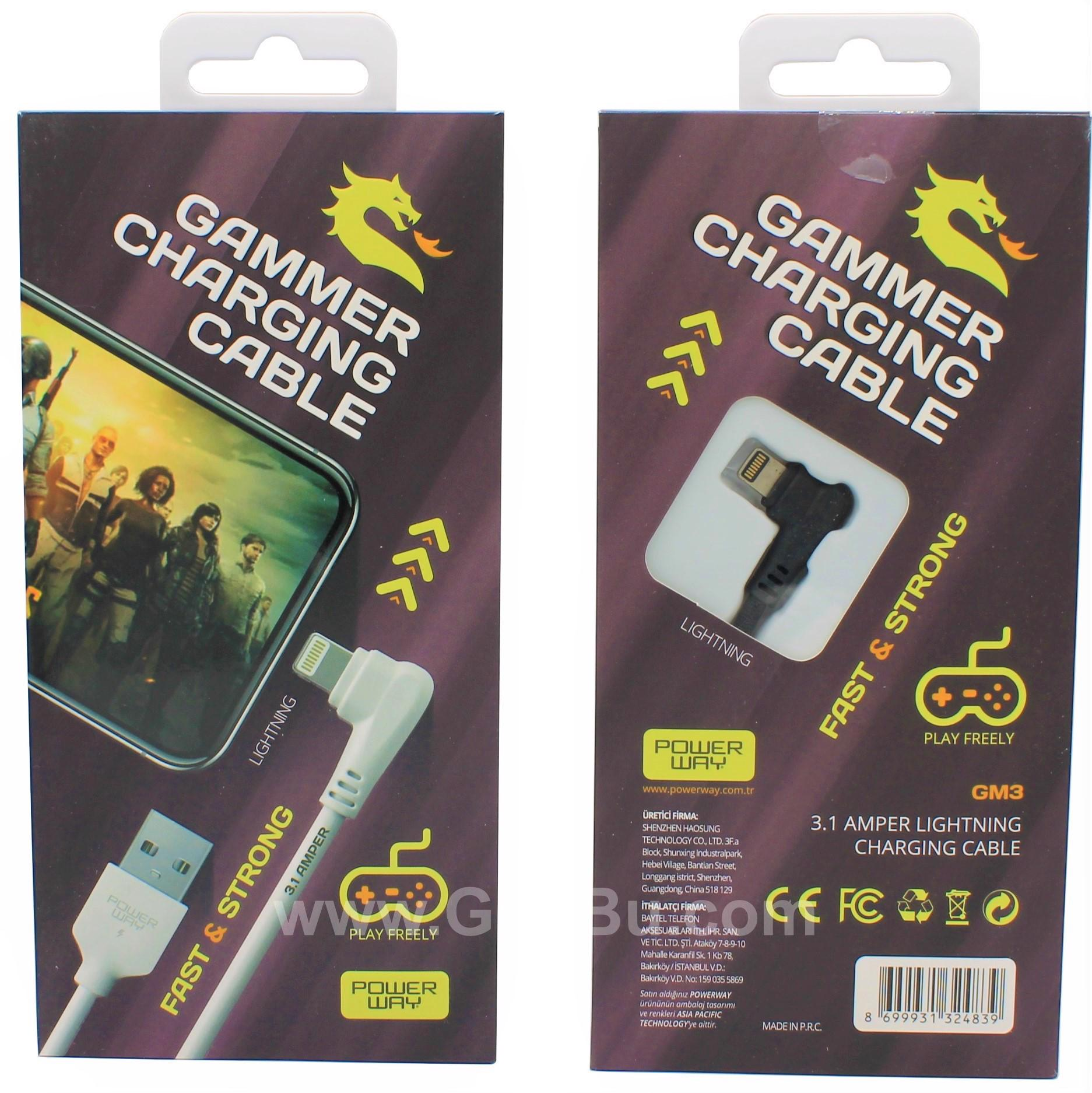 3.1A (İphone) Usb Örgülü Gaming Oyuncu Kablosu Powerway Gm3